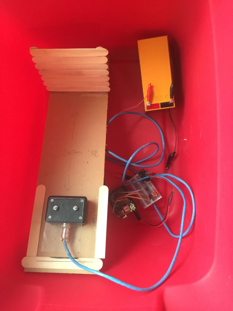 The complete setup in a tub ready to collect data outside.