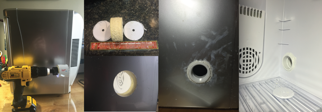 """Before, during, and after cable port placement. The center of the hole is 7 3/8"""" back from the front do"""
