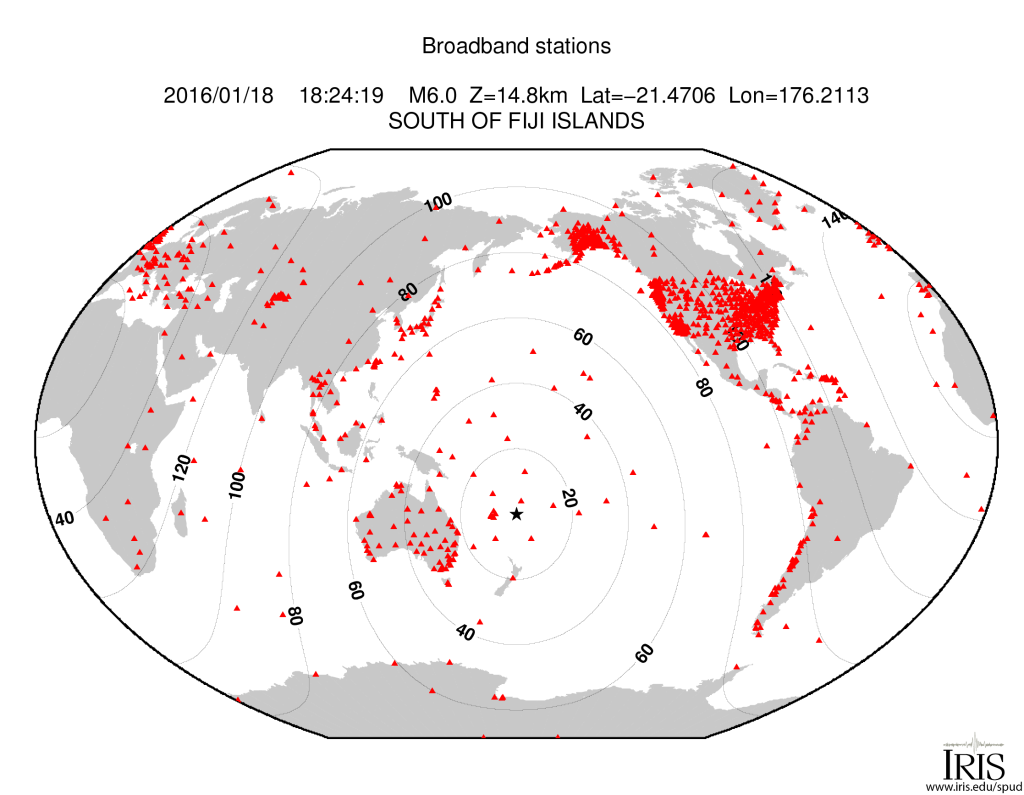 Stations and their distance from the earthquake. (Image: IRIS)