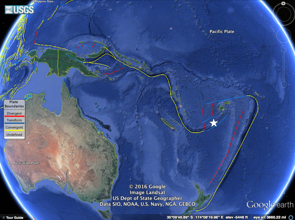 Our earthquake in question marked with a white star near the North New Hebrides trench.